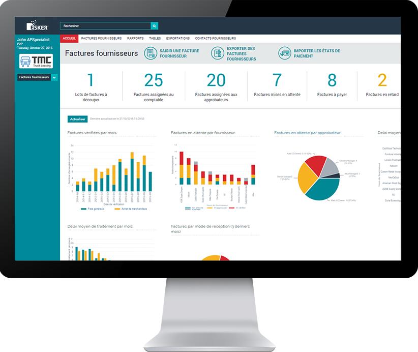 Tableau de bord solution de dématérialisation des factures fournisseurs Esker - interface utilisateur - indicateurs clés et graphiques en temps réel