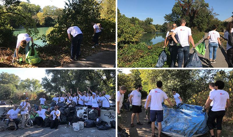 Nettoyage des berges du Rhône par les salariés d'Esker