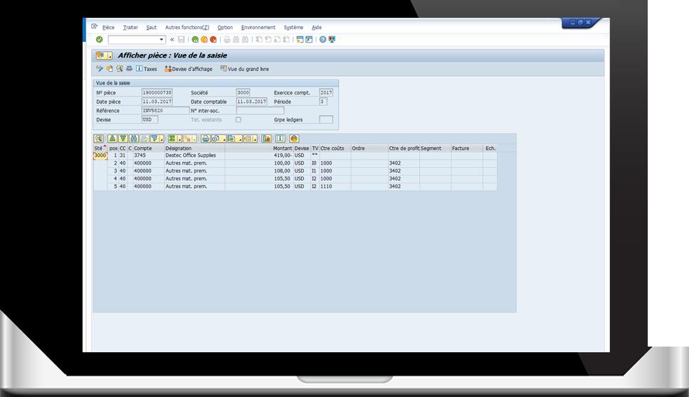 Tableau de bord : Environnement SAP