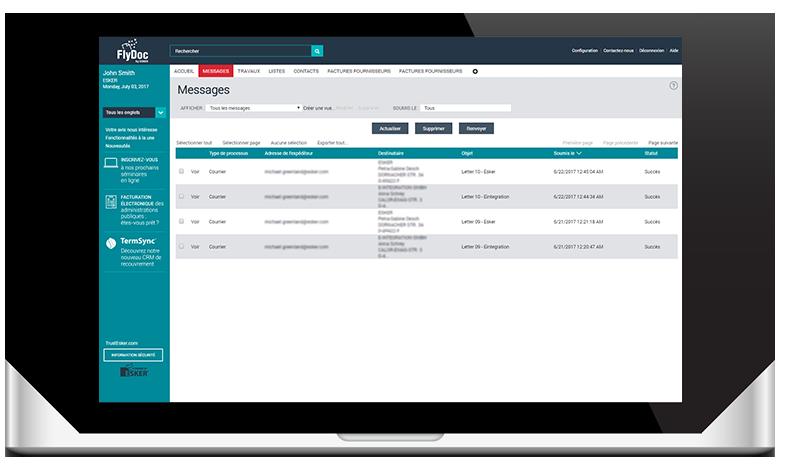 Tableau de bord FlyDoc pour suivre les envois de documents en temps réel